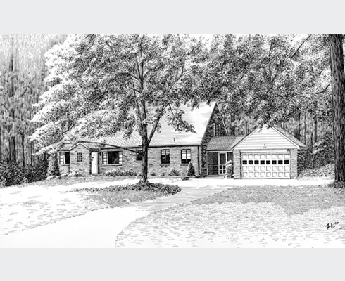 Pen and Ink rendering of a home in Maryland. Approx. 11 x 17 in.